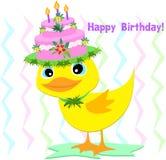 Cappello di buon compleanno su un'anatra Fotografia Stock