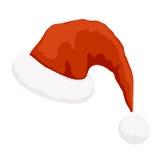 Cappello di colore rosso del Babbo Natale Fotografia Stock