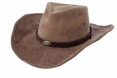 Cappello di cowboy di cuoio isolato Fotografia Stock