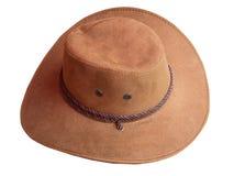 Cappello di cuoio del Brown Percorso di ritaglio Immagine Stock