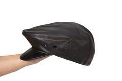 Cappello di cuoio nero isolato su bianco Fotografia Stock Libera da Diritti