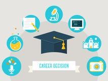 Cappello di graduazione circondato dalle icone di istruzione Scelta del concetto di corso, di carriera o di occupazione Fotografie Stock