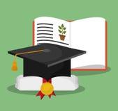 Cappello di graduazione del certificato del libro di biologia illustrazione vettoriale
