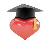 Cappello di graduazione del segno del cuore Fotografie Stock Libere da Diritti