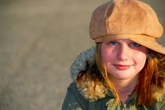 Cappello di inverno della ragazza Fotografie Stock