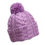 Cappello di lana viola Fotografia Stock