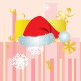 Cappello di Natale con il Natale fondo ed il vettore della cartolina d'auguri Illustrazione di Stock