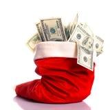 Cappello di Natale in pieno di soldi Immagini Stock Libere da Diritti