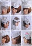 Cappello di nozze con un velo Fotografia Stock