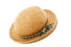 Cappello di paglia con il nastro verde Fotografia Stock Libera da Diritti