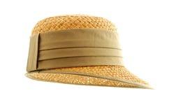 Cappello di paglia con il nastro verde isolato Immagine Stock