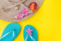 Cappello di paglia del ` s delle donne, fiori tropicali rosa, pantofole blu, conchiglie, nettarina su fondo giallo, vacanza della Fotografia Stock