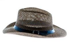 Cappello di paglia di estate isolato su bianco Fotografia Stock