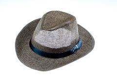 Cappello di paglia di estate isolato su bianco Immagine Stock Libera da Diritti