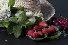 Cappello di paglia di frutti di estate fotografie stock