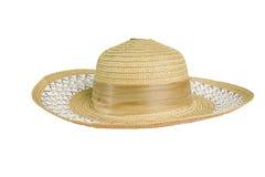 Cappello di paglia grazioso con il nastro su fondo bianco Immagine Stock