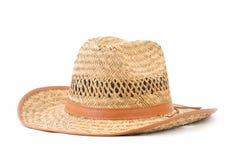 Cappello di paglia isolato su bianco fotografia stock libera da diritti