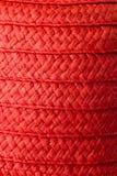 Cappello di paglia rosso di estate del ` s della donna isolato Fotografie Stock