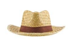 Cappello di Panama di bambù isolato su fondo bianco fotografie stock