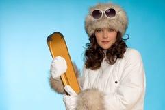 Cappello di pelliccia da portare sexy del modello di modo Fotografia Stock Libera da Diritti