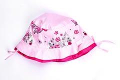 Cappello di rosa di estate della neonata Immagini Stock Libere da Diritti