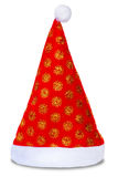 Cappello di Santa Claus di celebrazione isolato su bianco Fotografia Stock