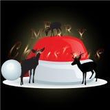 Cappello di Santa Claus e della renna con il Natale fondo ed il vettore della cartolina d'auguri Illustrazione Vettoriale