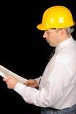 Cappello di sicurezza da portare dell'assistente tecnico Fotografia Stock
