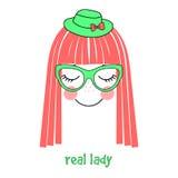 Cappello di signora e manifesto reali di vetro Immagini Stock