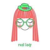 Cappello di signora e manifesto reali di vetro Fotografia Stock