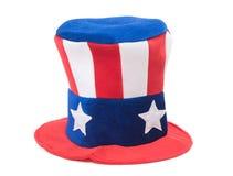 Cappello di Zio Sam su bianco Fotografie Stock Libere da Diritti