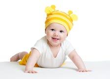 Cappello divertente weared neonato sorridente Fotografie Stock