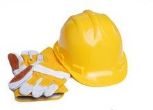 Cappello duro e guanti Fotografia Stock