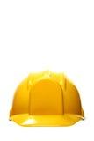Cappello duro giallo su bianco Fotografia Stock