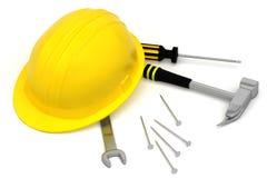 Cappello duro isolato con gli strumenti su bianco Fotografie Stock Libere da Diritti