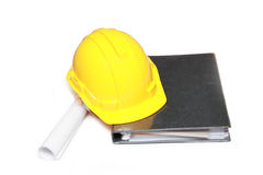 Cappello duro isolato con un documento Fotografia Stock