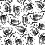 Cappello e baffi di schizzo Immagini Stock