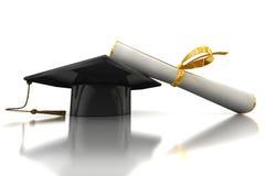 Cappello e diploma del celibe Immagine Stock