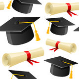 Cappello e diploma di graduazione senza cuciture Fotografia Stock