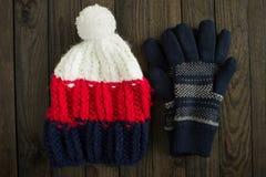 Cappello e guanti di Winetr Fotografia Stock