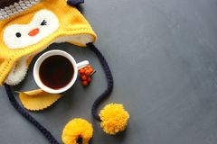 Cappello giallo sveglio di inverno con le campane, una tazza di tè e bacche di viburno su un fondo grigio di lerciume immagine stock libera da diritti