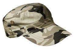 Cappello isolato su priorità bassa bianca cappello con la visiera cappello militare Fotografia Stock
