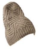 Cappello isolato su priorità bassa bianca Cappello lavorato a maglia cappello del biege Immagini Stock