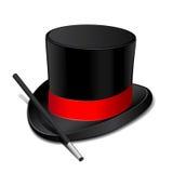 Cappello magico con la bacchetta magica Fotografia Stock Libera da Diritti