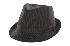 Cappello nero della fedora del gessato Fotografie Stock Libere da Diritti
