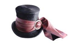 Cappello piegante con il nastro rosso Fotografia Stock Libera da Diritti