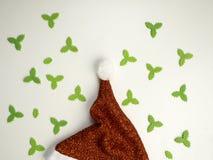 cappello posto piano di Santa del nuovo anno del desig fotografia stock