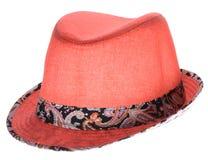 Cappello rosso con un bordo Fotografia Stock Libera da Diritti