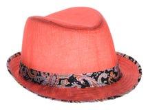 Cappello rosso con un bordo Immagini Stock