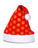 Cappello rosso del Babbo Natale isolato su bianco Immagini Stock Libere da Diritti